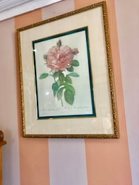 Gilt/gold picture frame with Roses by Pierre Joseph Redoute