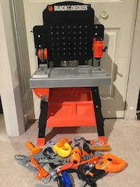 Black and Decker Toy tool table with a bag filled with tons of tools Calgary, T2Z 2V4