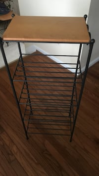 Longaberger Wrought Iron Tall 4 Shelf Table w/Oak Wood Top -Like New Frederick