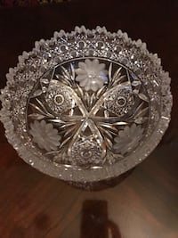 Large crystal bowl ( had tiny broken piece on top)