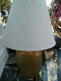 brown wooden base with white lampshade table lamp Mission, 78574