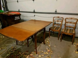 Vintage drop table with leaf and two chairs
