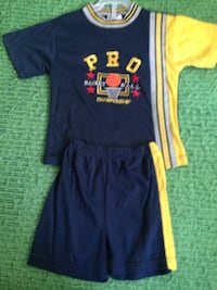 Blue and yellow  t shirt and shorts size 3 .