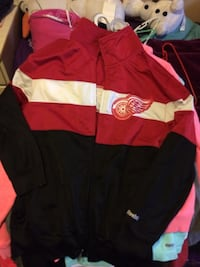 red,black and white Detroit Red wings full-zip jacket