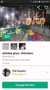 whiskey glass, Heineken holders, and caps to keep beer and wine fresh