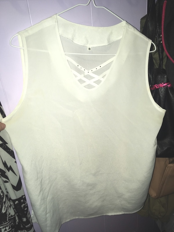 *Brand new* Women's size medium chiffon v neck blouse with gemstone accenting