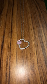 Open diamond heart flower with ruby pendant necklace