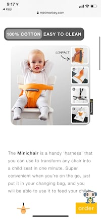 Baby mini monkey chair portable orig 45$ Montréal, H8P 3H4
