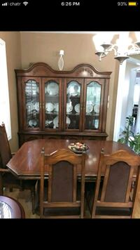 brown wooden solid wood buffet hutch Vaughan