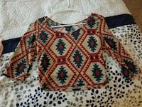 women's white, red, and green aztec long-sleeved boat-neck blouse Marshall, 20115