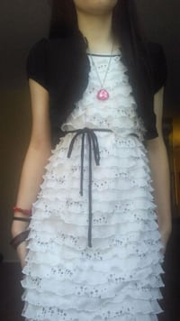 Black and White Ruffled Dress w/ Sequins Phoenix, 85022