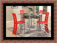 Red counter height table with 4 chairs College Park, 20742