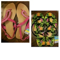 two brown and green sandals collage