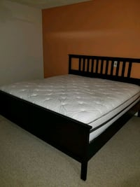 black wooden bed frame with white mattress Miami, 33176
