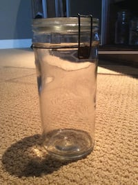 "Vintage Fruit Jar with Glass Lid & Wire Bail (10"" Tall) Calgary, T3H"