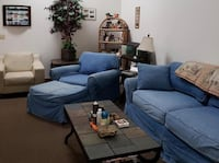 Denim Couch, Chair, Ottoman, and white club chair included.  Point Pleasant, 08742