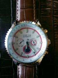 round silver chronograph watch with brown leather strap Alhambra, 91801