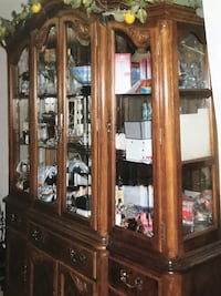Oak china cabinet with glass display cabinet