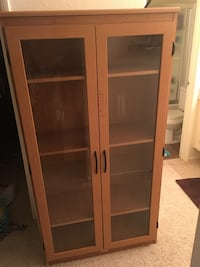 brown wooden framed glass display cabinet Los Angeles, 91367