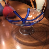 Clear glass bowl with blue accents Canton, 02021