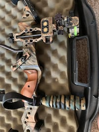 Compound bow with case and adjustable site