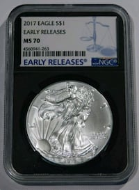 2017 Silver Eagle Early Releases NGC MS-70 Cliffside Park, 07666