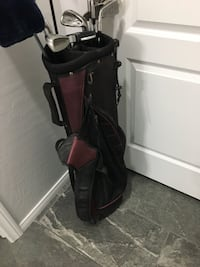 black and red leather golf club bag and stainless steel golf club putter set