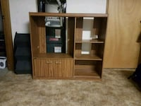 brown wooden TV hutch with cabinet Calgary, T2T
