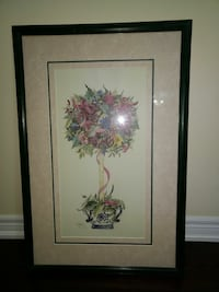 red flower topiary painting with black wooden frame