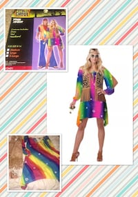 "TOTALLY GHOUL* brand ""FREE SPIRIT!"" Rainbow Hippie chick costume women's size LARGE- NEW!  Carrollton, 75007"