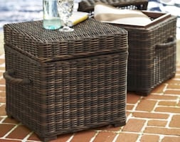 Pottery Barn Torrey All-Weather Wicker Lidded Storage Cube/Side Table