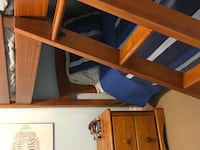 Solid Wood Bunk Bed with Ladder and Matching Side Table