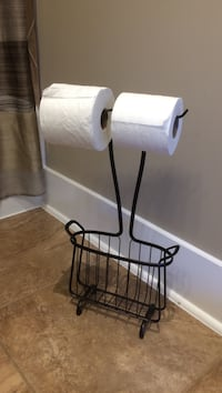 Bronze toilet paper holder & magazine rack London