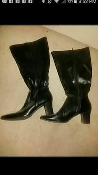 Prediction Black Leather Calf Length Boots