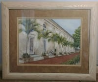brown wooden framed painting of house 30 x 36 Rockledge