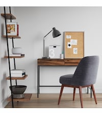 Desk and leaning shelf