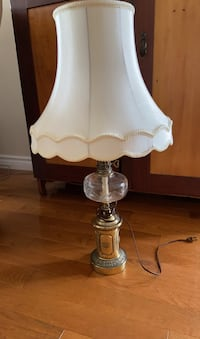 Antique Brass and Glass Table Lamp