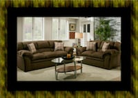 Chocolate fabric sofa and loveseat Temple Hills
