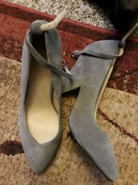 pair of gray suede open toe ankle strap heels Chesapeake, 23323
