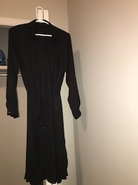 black long-sleeved maxi dress