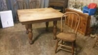 rectangular brown wooden table with two chairs Fennville, 49408