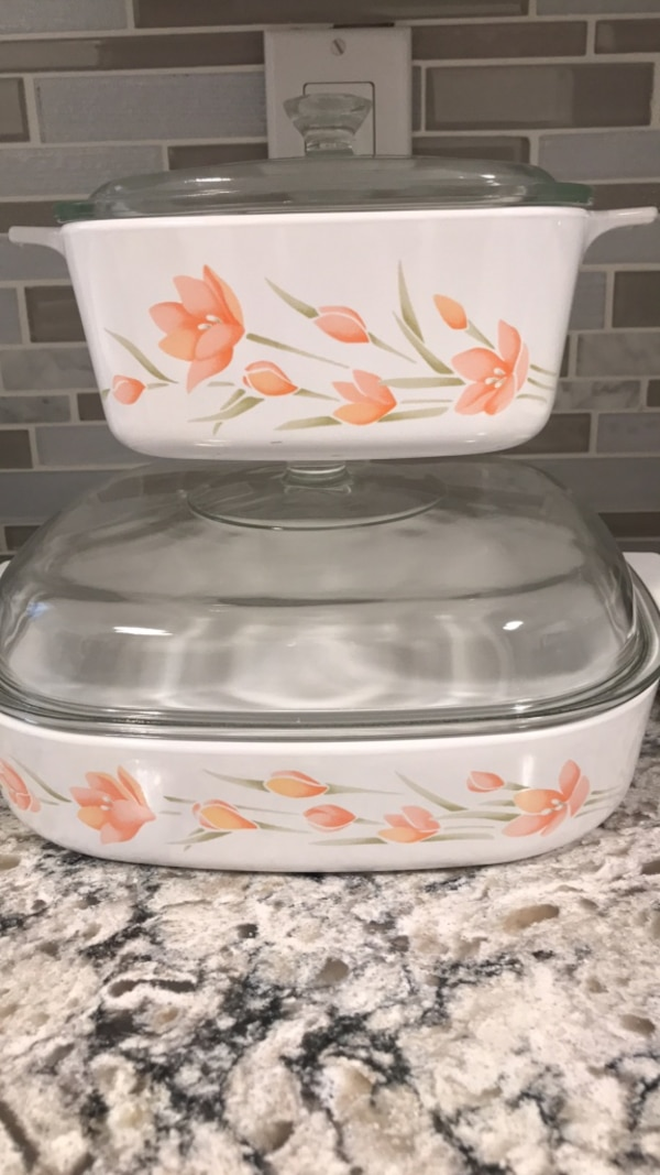 Corningware peach floral