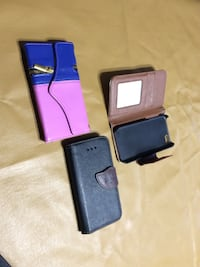 several leather smartphone flip cases