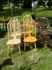 three brown wooden windsor chairs Brentwood, 11717