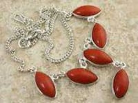 Red syn banded agate NECKLACE 925 silver 18 in