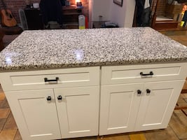 Kitchen island and bar with granite