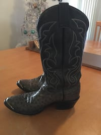 black-and-gray deep-scallop R-toe undershot-heeled knee-high cowboy boots Westminster, 80021