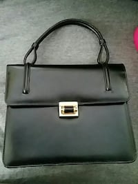 Vintage black leather purse with gold lock Springfield, 22153