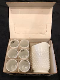 Fashioned Hobnail 7 Piece Water Set Authentic Milk Glass West Hollywood, 90069