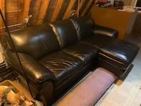 Black Leather Couch + Ottoman New Boston, 03070